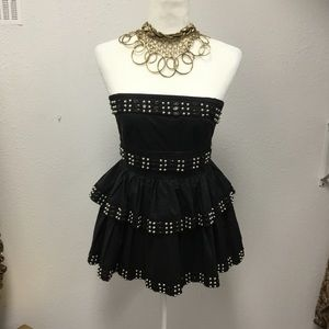 Studded spaghetti strap gather tier A-line Dress
